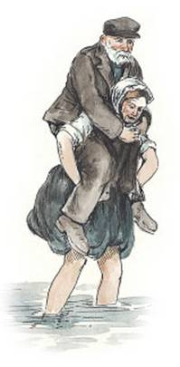 a woman carrying a man